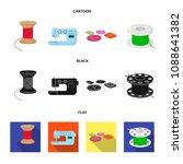 thread reel  sewing machine ... | Shutterstock .eps vector #1088641382