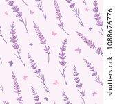 lavender field repeat pattern... | Shutterstock .eps vector #1088676776