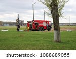 A Large Red Fire Rescue Vehicle ...