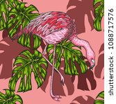 palm leaf with flamingo pattern ... | Shutterstock .eps vector #1088717576