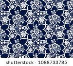 seamless rich damask dark blue... | Shutterstock .eps vector #1088733785