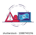 laptop with financial... | Shutterstock .eps vector #1088740196