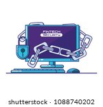 desktop computer with financial ... | Shutterstock .eps vector #1088740202