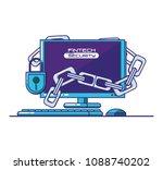 desktop computer with financial ... | Shutterstock .eps vector #1088740202