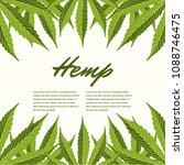 green hemp leaves. vector... | Shutterstock .eps vector #1088746475