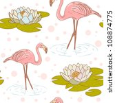 Pink Flamingo Standing In The...