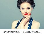 pin up woman portrait.... | Shutterstock . vector #1088749268