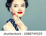 pin up woman portrait.... | Shutterstock . vector #1088749325