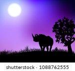 a rhinoceros in the night...   Shutterstock .eps vector #1088762555
