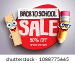 back to school sale vector... | Shutterstock .eps vector #1088775665