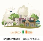 Limerick City. Ireland Vector...