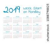 2019 calendar. start on monday | Shutterstock .eps vector #1088798825