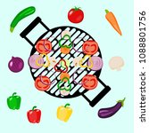 vegetables picnic in the open... | Shutterstock .eps vector #1088801756