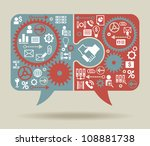 speech bubble and puzzle with a ... | Shutterstock .eps vector #108881738