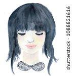 watercolor portrait of young...   Shutterstock . vector #1088821616