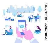 human hand holds smart phone... | Shutterstock .eps vector #1088826788
