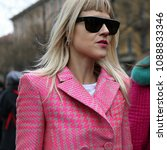 Small photo of MILAN, Italy- February 22 2018:Linda Tol on the street during the Milan Fashion Week