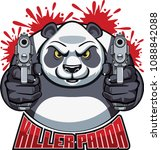 panda bear aiming with pistols... | Shutterstock .eps vector #1088842088
