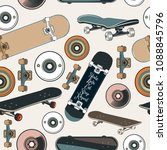 vector pattern with skateboards ... | Shutterstock .eps vector #1088845796