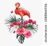 seamless vector floral summer...   Shutterstock .eps vector #1088866556