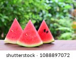 three slices of watermelon on...   Shutterstock . vector #1088897072