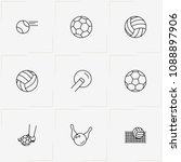 balls line icon set with tennis ... | Shutterstock .eps vector #1088897906