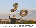 man celebrates thirty years... | Shutterstock . vector #1088907968