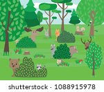 cute woodland animals and... | Shutterstock .eps vector #1088915978