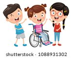 vector illustration of disabled ... | Shutterstock .eps vector #1088931302
