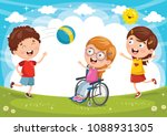 vector illustration of disabled ... | Shutterstock .eps vector #1088931305