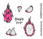 set of slices of dragon fruit... | Shutterstock .eps vector #1088932436