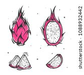 dragon fruit. exotic mexican... | Shutterstock .eps vector #1088932442