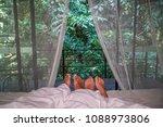 romantic couple sleeping in bed ... | Shutterstock . vector #1088973806