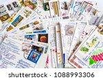 pile of written postcards in... | Shutterstock . vector #1088993306