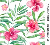 watercolor tropical leaves... | Shutterstock . vector #1088995412