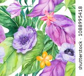 watercolor tropical leaves... | Shutterstock . vector #1088995418