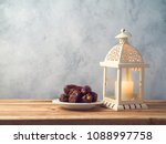 lightened lantern and dates... | Shutterstock . vector #1088997758