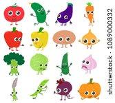 smiling vegetables icons set....   Shutterstock . vector #1089000332