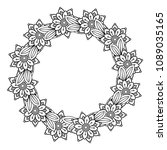 black and white doodle wreath.... | Shutterstock .eps vector #1089035165