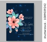 invitation or wedding card with ... | Shutterstock .eps vector #1089039242