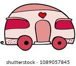cute caravan illustration.... | Shutterstock .eps vector #1089057845