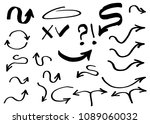 doodle hand drawn vector arrows ... | Shutterstock .eps vector #1089060032