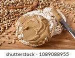 organic brown rice cakes with... | Shutterstock . vector #1089088955
