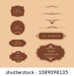 vintage vector set. floral... | Shutterstock .eps vector #1089098135