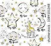 baby sky seamless pattern...   Shutterstock .eps vector #1089101348