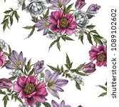 floral seamless pattern with... | Shutterstock . vector #1089102602