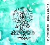 girl in lotus yoga pose on... | Shutterstock .eps vector #1089118745