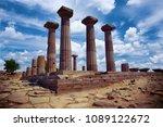 doric columns of the ancient... | Shutterstock . vector #1089122672
