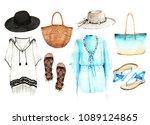 watercolor fashion illustration.... | Shutterstock . vector #1089124865
