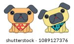 two dogs in cartoon style.... | Shutterstock .eps vector #1089127376
